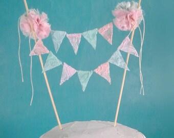 Wedding Cake bunting, pastel, lace, cake Banner G301 - shabby chic cake bunting