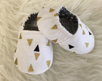 Gold & Black Geometric Baby Bootie - Elastic Back - Made to Order