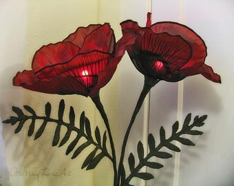 Red Poppy Silk Accent Lamp