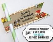 12 Flags for Straws, Suckeror Lollipop Sticks, Cake Pop Sticks, Baby Woodland Forest Animals, Baby Shower, Birthday Party, Fox, Hedgehog