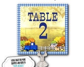 Table Number Cards, Buffet Food Labeling Cards, Table Signs, Pickup Truck, Farm Animals, Birthday Party, Blue Gingham Check