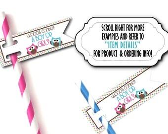 12 Flags for Straws, Sucker or Lollipop Sticks, Cake Pop Sticks, Baby Gender Reveal Party, Baby Shower, Pink & Blue Baby Owls