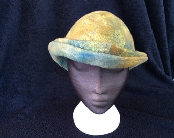Double brim merino wool and silk cloche style hat
