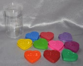 Heart Crayons With Words, Total of 10 Crayons That Come in a Round Container.  Boy or Girl Kids Unique Party Favors, Valentine Favors