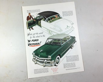 1951 Ford Victoria Ad holiday magazine May fordomatic drive, luxury lounge Craftcord green black sedan paris belts french shriner shoes