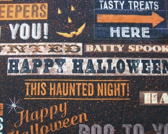 Jeepers Creepers Halloween Signs Words Clothworks Cotton Fabric Yard