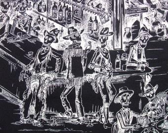 Deadwood Saloon Black Skeleton Days of Dead Western Alexander Henry Fabric