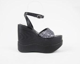 25% off SALE 1990s GLITTER Platform Wedges Spice Girls Cyber Goth Club Kid Raver Monster Mega Ankle Strap Sandals Black Wedge Sandals Size 5