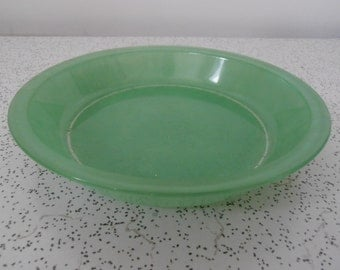 vintage green glass Agee Pyrex pie dish