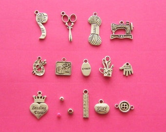 The Art and Crafts collection - 15 different antique silver tone charms