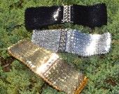 Sequin cinch belt, Elastic belt, stretch belt, silver belt, gold belt, corset belt, cinch belt, 22 to 29 inch, black belt, Christmas belt