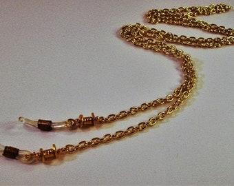 Gold chain with metal beads eye lanyard and adjustable eye grips