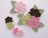 """Pink Boutique Mix 7/8"""" - 1-1/4"""" Crochet 6-Petal Flower Embellishments w/ Leaves Handmade Applique Scrapbook Accessories - 16 pcs. (410-2)"""