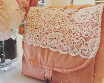 Camera Bag-cross body in coral and lace