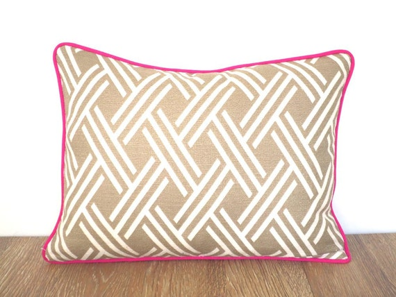lumbar pillow pink piping small chair cushion case home decor fabric