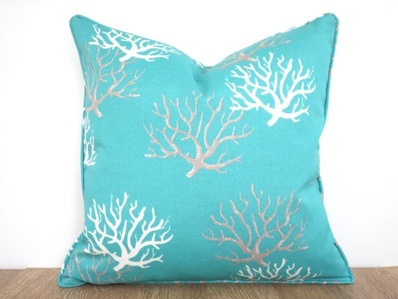 Turquoise Outdoor Pillow Cover 18x18 Coral Pillow Cover Beach
