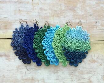 Light green lace earrings/ New shades/ long earrings/