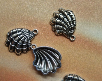 10 pcs 20mm Shell charms - Seashells, Antique Silver, Metal Charms, Metal Pendants, Beach beads, Summer Charms, Alloy Charms
