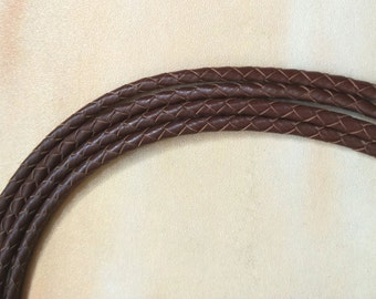 4mm brown Braided leather cord,Genuine round leather cord, brown cord,bracelet cord, round leather cord
