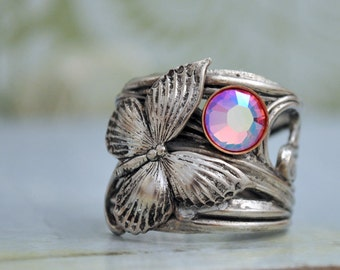 BUTTERFLY IN MOTION Neo Victorian vintage style antiqued silver ring with butterfly and Swarovski rose color rhinestone