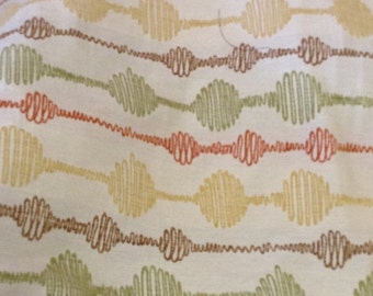 CIRCLES and cords TAPESTRY gold green brown CHENILLE upholstery fabric