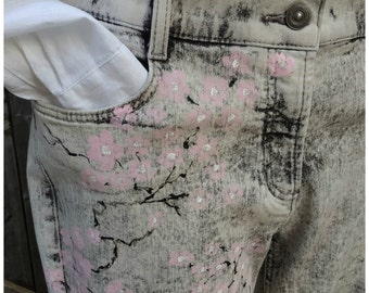 hand painted, cherry blossom jeans, size 14