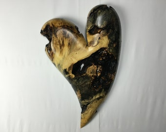 Wooden Heart wood carving 50th Anniversary present best gift ever by Gary Burns the treewiz handmade woodworking