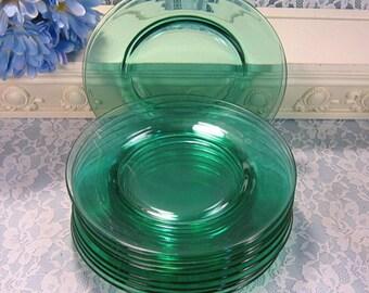 Vintage Antique Green Cambridge Glass Depression Lunch or Dessert Plates, Set of Eleven, 1930s Elegant Glass Dinnerware, Wedding Plates