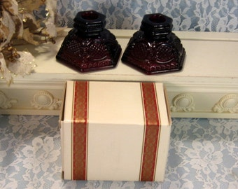 1980s Vintage Avon 1876 Cape Cod Ruby Red Candle Holder Set in Box, 1980s Mid Century Glass, Christmas Dinnerware, Christmas Decor