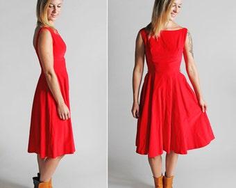 Vintage 1950's Velvet Sweetheart Dress - Red Ballet Full Skirt Circle Scooped Neck Sleeveless Party Cocktail 50s Midi - Size Small; Size 2/4