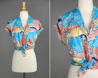 Vintage 1980's Tropical Button Up Shirt- Beach and Ocean- Blue and Pink- Summer Time Blouse- Size Medium or Large M L