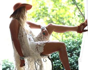 Gypsy Tunic Dress, Bohemian Magnolia lace Pearl tunic, Boho dresses Stevie Nicks Style, Vagabond wanderer, Romantic, True Rebel clothing OS