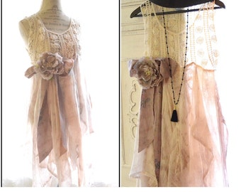 Romantic crochet Slip dress, Bohemian dresses, Boho clothing, 70s retro Stevie Nicks style, Shabby cottage chic clothes, True rebel clothing