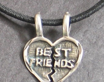 SALE Vintage Sterling Best Friends  Breakable Heart Charm