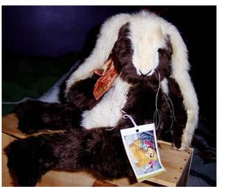 Old Bun Bun, 21inch bunny, German plush, jointed, hand made, one of kind, signed