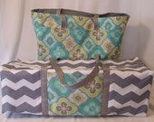 Carrying Case fits the Cricut Explore Air / Silhouette Cameo 3 / Brother ScanNCut 2 / Moroccan Print Fabric / Teal  / Grey
