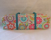 Cricut Expression Carrying Case / Silhouette Cameo Carrying Case / Scrapbooking tote / Turquoise  and Pink Flower Print / Turquoise Straps