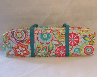 Cricut Expression Carrying Case / Silhouette Cameo Carrying Case / Silhouette Cameo 2 / Turquoise  and Pink Flower Print / Turquoise Straps