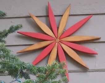 Rustic Folk Art Wooden Wreath - for Outdoor Wall, Fence, Door, Entryway - Garden Art Handcrafted by Laughing Creek