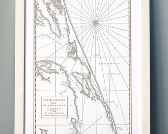 Outer Banks, Letterpress Printed Map (Cocoa)