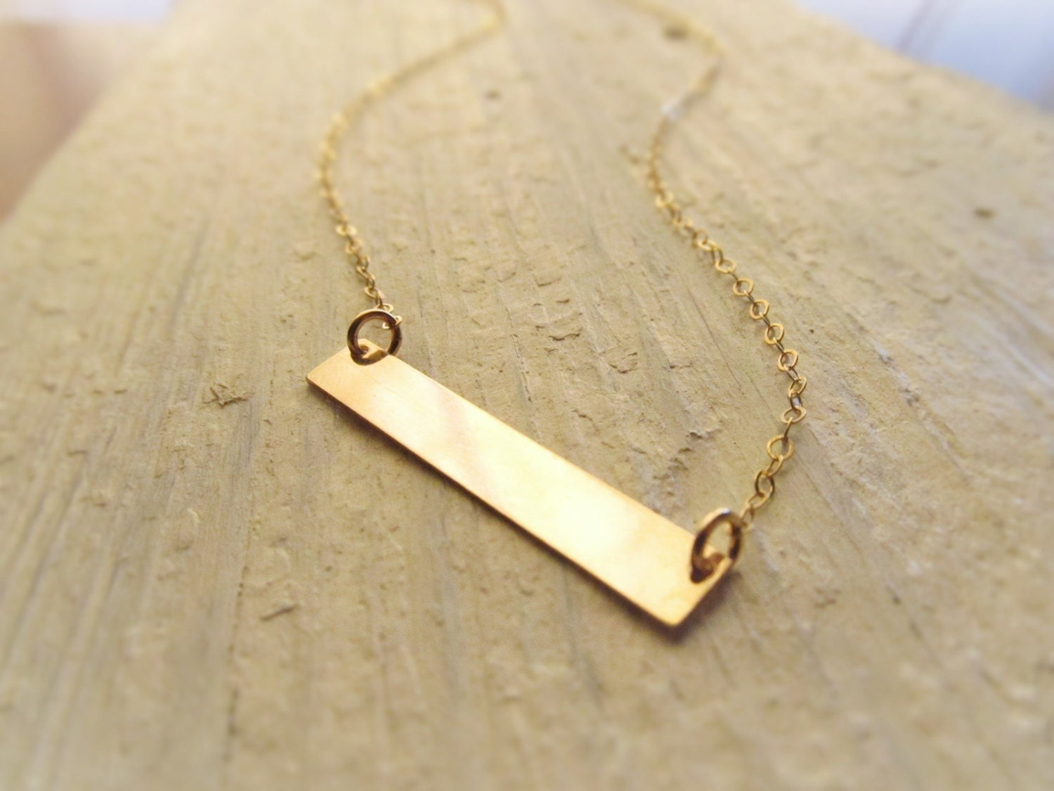 Gold bar necklace 14kt gold filled station necklace gold for Gold filled jewelry