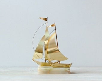 Vintage Brass Sailboat Figure Statue