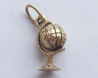Spinning Globe Solid Gold Charm Golden Globe 9k 10k