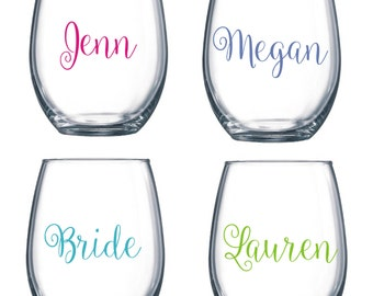 DIY Personalized Name Wine Glass Kit for 15 Glasses Wedding Party * Decals * Bride * Bridal Party * Rehearsal Dinner * Easy Project Save