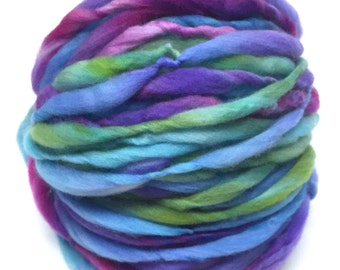 Super bulky hand spun yarn, 54 yards and 3 ounces/ 85 grams, spun thick and thin in hand dyed merino wool