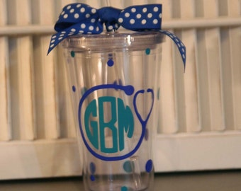 Personalized Nurse gift 16 oz Insulated cup with stethscope, monogram and polka dots
