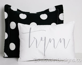 Personalized Name Pillow White Cotton Twill 9 X 13 Handmade in Canada