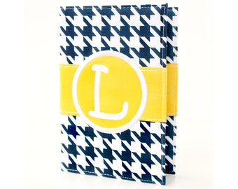 Navy Houndstooth Personalized Journal - You select, fabric, frame, and font - Monogrammed sketchbook - Personalized gift - Lined journal
