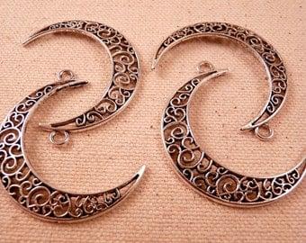 Moon Charms Silver Moon Charms Silver Beads Silver Charms Moon Beads Silver Findings Metal Beads