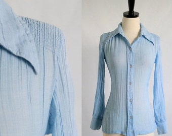 Vintage 1970s Blouse Top Baby Blue Blouse 1970s Clothing Button Up Front Smocked Blouse Light Blue Top Hippie Clothes Extra Small XS